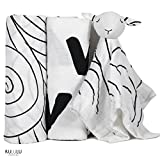Swaddle baby safe & calm - 100% Certified Organic Cotton muslin blankets + Lovey